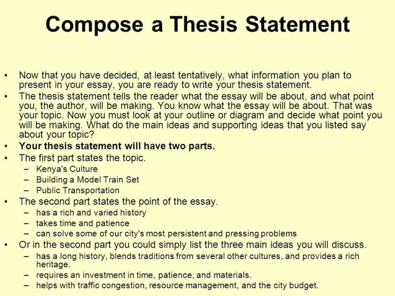 Write a thesis statement for me online